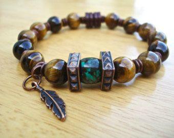 Pulsera de los hombres nativos americanos con Lava por tocijewelry