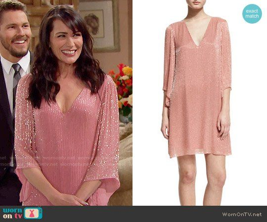 Quinn's pink beaded Thanksgiving dress on The Bold and the Beautiful.  Outfit Details: https://wornontv.net/62533/ #TheBoldandtheBeautiful