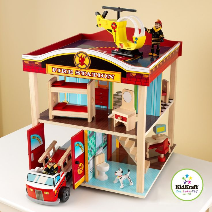 Fire stationHoliday Gift, Fire Trucks, Gift Ideas, Wooden Toys, Kidkraft Fire, Fire Stations, Plays Sets, Dolls House, Stations Sets