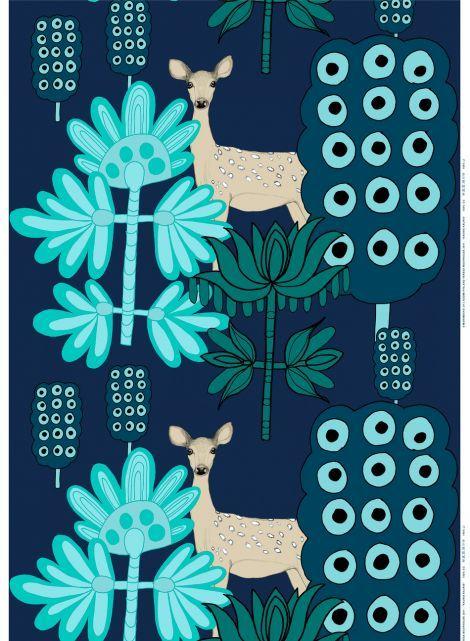 Kaunis kauris -kangas (t.sininen,turkoosi)