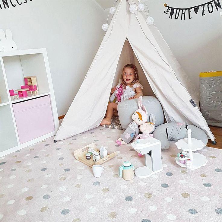 Teppich Acryl Dots rosa-grau, linen, weiß von Lorena Canals, 1