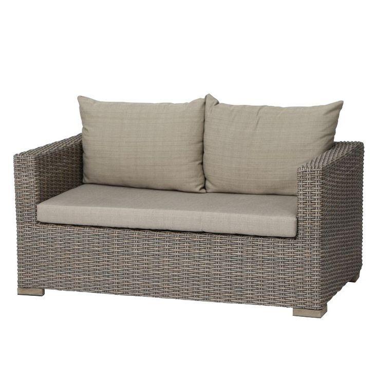 Lounge Sofa Veneto 2 Sitzer Polyrattan Webstoff Hellbraun Hellbeige S