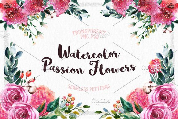 Watercolor Passion Flowers by Spasibenko Art on @creativemarket