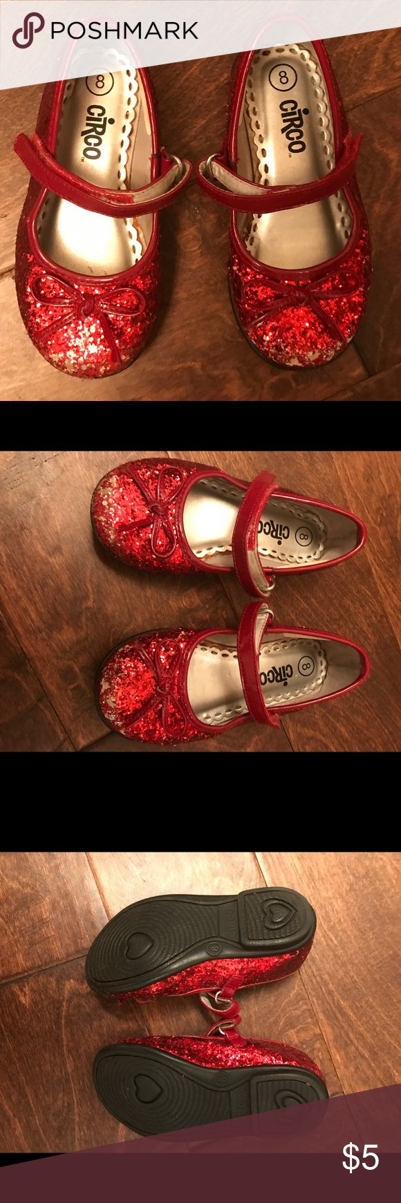 """""""Ruby red slippers"""" Sparkly red toddler shoes size 8.  Has easy Velcro Mary Jane strap.  Some wear/ scuffing on outer toe region as seen in photo. Shoes"""