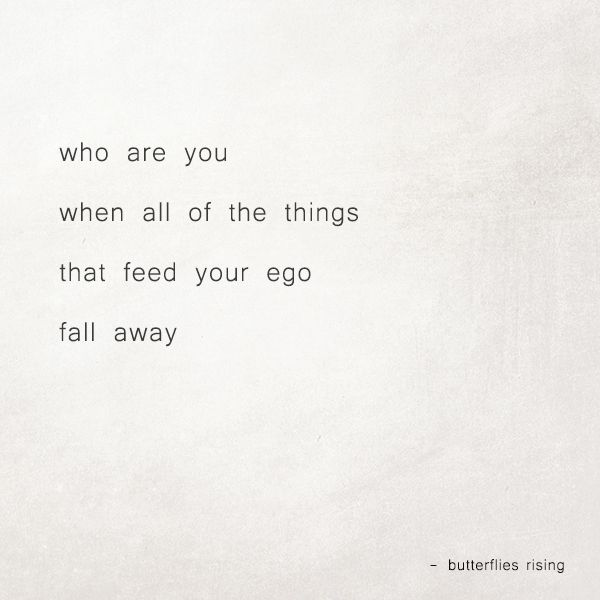 who are you when all of the things that feed your ego fall away  – butterflies rising