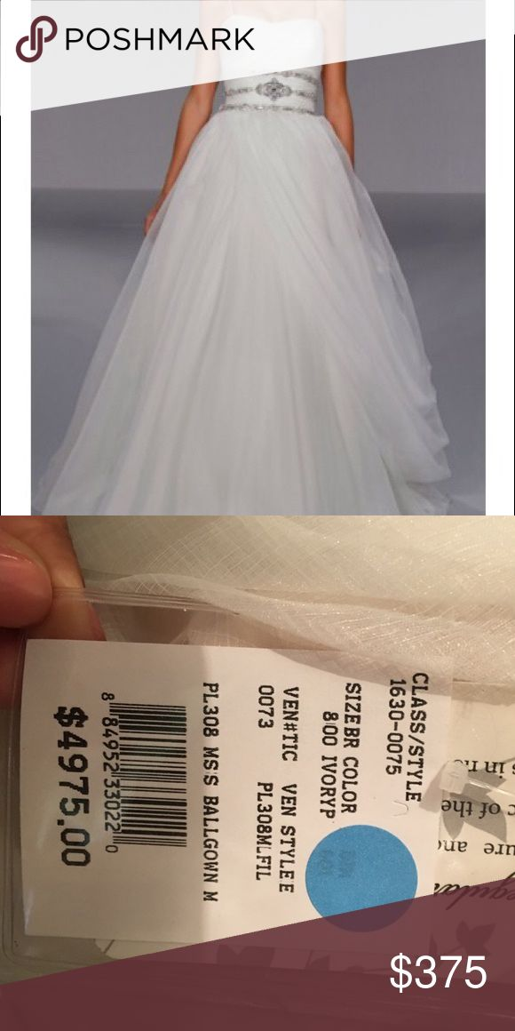 Priscilla of Boston Ballroom Bridal Gown This never worn, Priscilla of Boston Platinum Collection Ballroom style Bridal gown is bezeled with crystal stones. Platinum for Priscilla of Boston Dresses Wedding