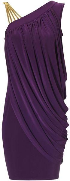 Jane Norman Gold Strap Dress in Purple  Perfect LSU Tiger dress!