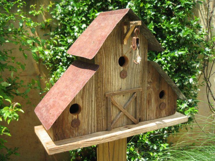 Primitive Barn Birdhouse Tin Roof Rustic by CleggFarmCreations