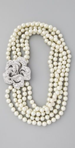 Kenneth Jay Lane multi-strand pearl and crystal necklace. perfect combination!
