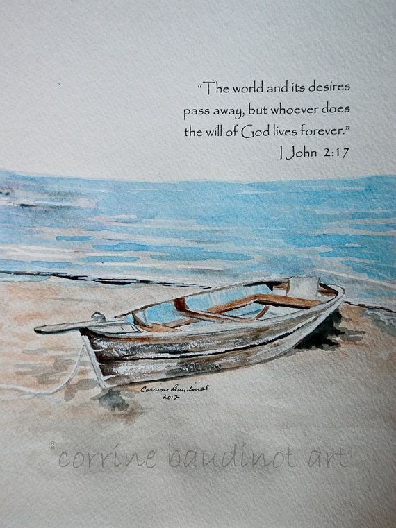 Blue ocean with old boat watercolor painting with verse by ...