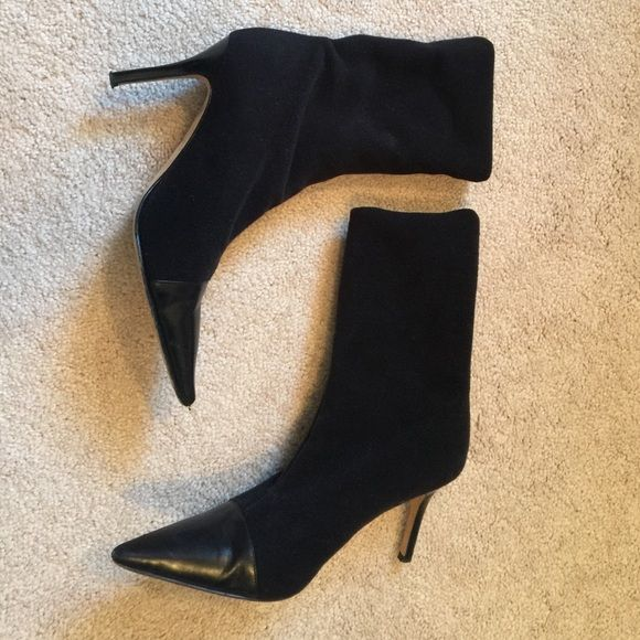 Kate Spade boots/booties Kate Spade boots that can transform into booties by rolling down. Material is felt like and tips and heel are larger. Minor marks on shoe tip (see pic) kate spade Shoes Ankle Boots & Booties