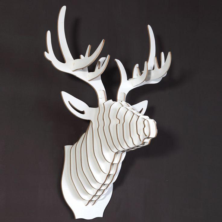 Black And White Interior Design Deer Head Wooden Decoration Iwood Crafts