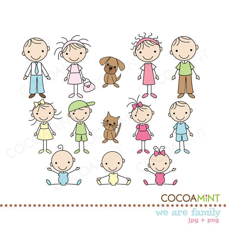 We are Family Stick Figures Clip Art by cocoamint on Etsy