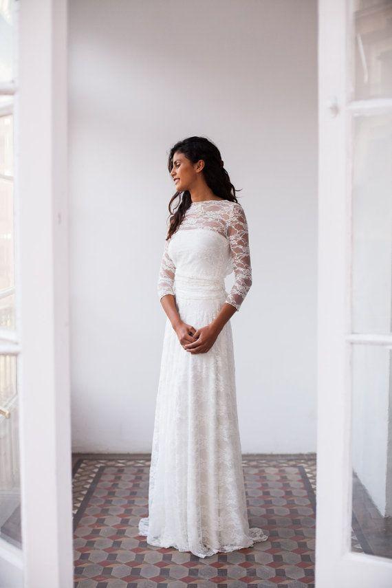 Vintage Wedding Dress, Lace Dress, Lace wedding dress, romantic bridal gown, vintage style wedding dress, long sleeved wedding dress, lace