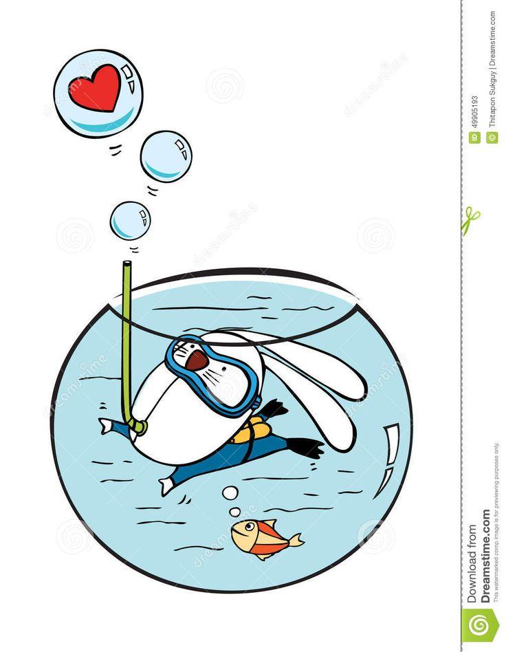Rabbit diving in mini aquarium  vector illustration cartoon