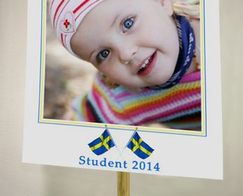 Studentplakat är det klassiska sättet att uppvakta den nyutexaminerade studenten på. Smartphoto erbjuder studentskyltar med personliga bilder på. Din studentskylt kommer med pinne och regnskydd.