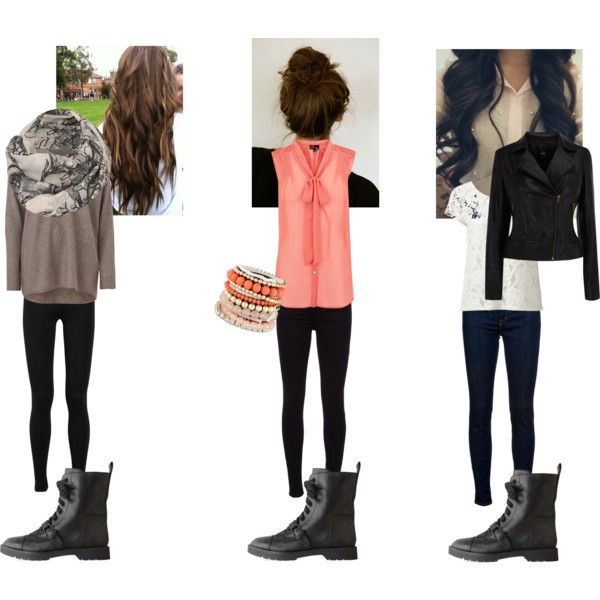 3 Different Outfits: Black Combat Boots, created by girlygirllove1234 on Polyvore