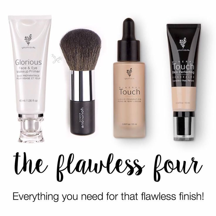 The flawless four, liquid foundation, glorious face and eye primer, founda