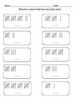 Counting Tally Marks Freebie  Representing numbers in different ways, for math tubs or homework. kindergarten and first grade