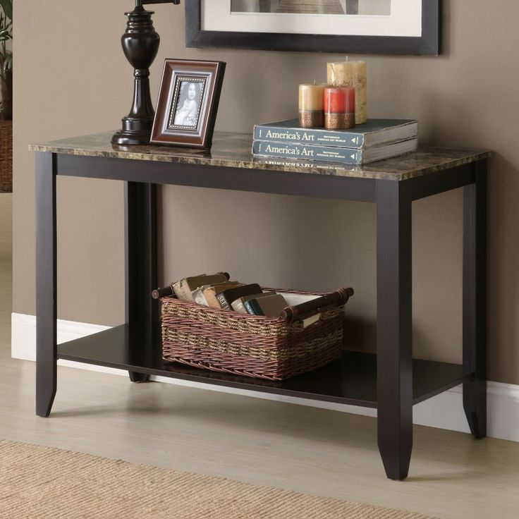 Monarch Specialties I 7983S Marble Top Sofa Console Table - Home Furniture Showroom