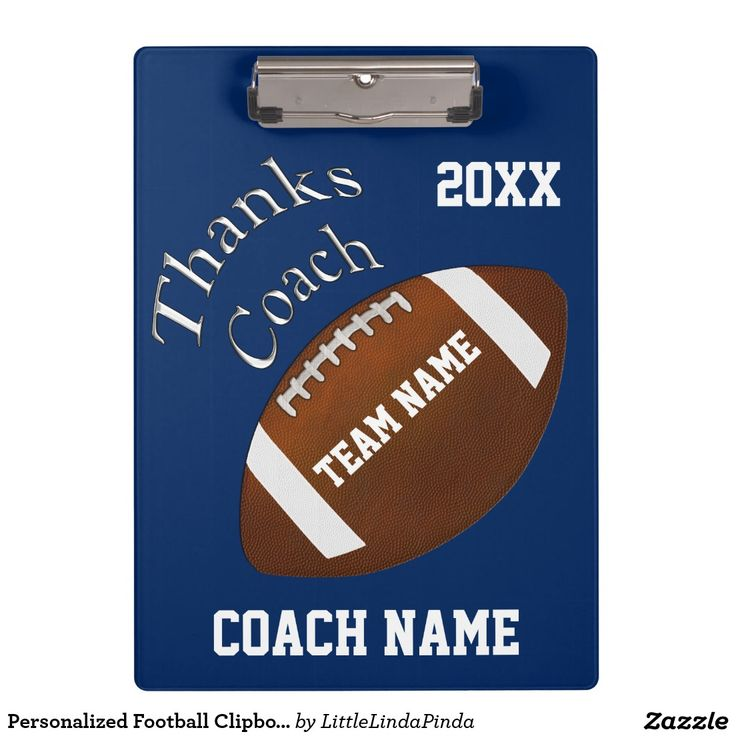 Personalized Football Clipboards for Coaches with 3 text boxes: coach's name, year and your team name and change blue and white, background and text COLORS to your team colors. CLICK: http://www.zazzle.com/pd/spp/pt-aif_clipboard?dz=7392606c-e07d-4680-82f8-e6df0c72e80f&clone=true&pending=true&style=twosidedstandard&design.areas=%5BacrylicIdea_clipboard_front_front%2CacrylicIdea_clipboard_back_back%5D&view=113433741980661640&CMPN=shareicon&lang=en&social=true&rf=238147997806552929…