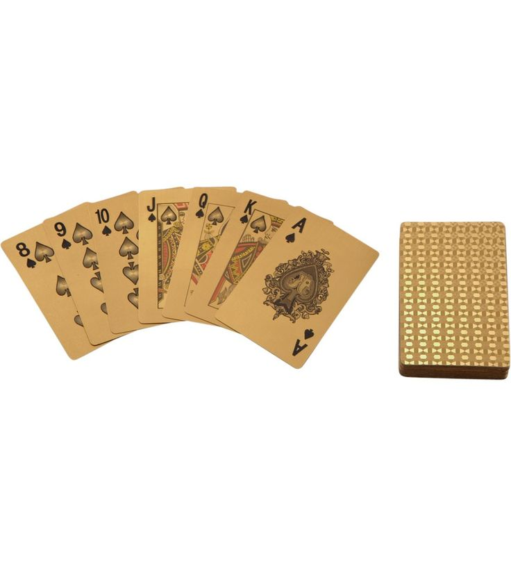 Gilded Playing Cards With Leather Card Case