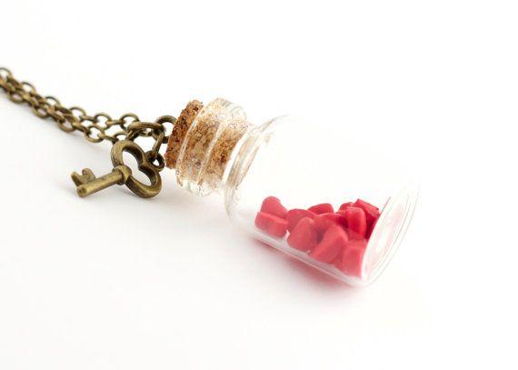 Red heart bottle brass necklace - heart bottle pendant - red heart in a jar