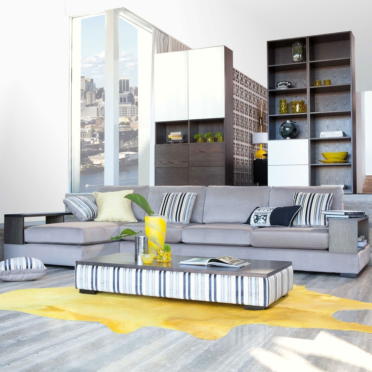 Cruz 3.5-Seater Fabric Chaise Lounge from Domayne