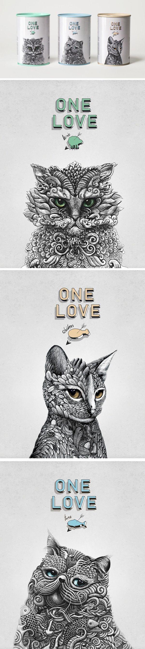 ONE LOVE Cat food Design #Cat lovers - Join http://facebook.com/OzziCat * Get cat #magazine http://OzziCat.com.au