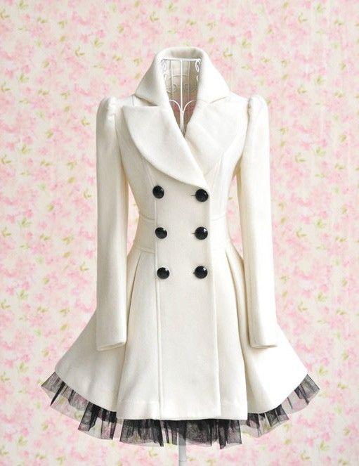 White peacoat ♥Peacoat, Fashion, Style, Closets, White Coats, Dresses, Audrey Hepburn, Jackets, Winter Coats