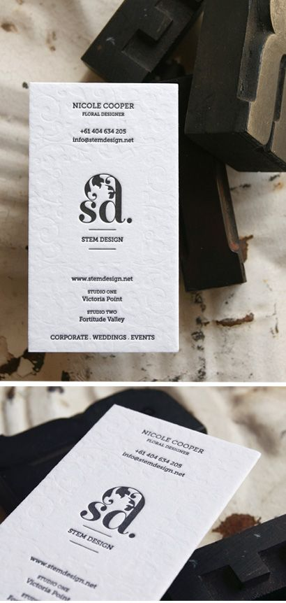 Letterpressed business cards designed and printed by Creative Emporium. This project also involved a logo refresh for Stem Design that spoke to the Wedding and Bridal industry and promoted the incredible floral design that Nicole creates. #creativeemporium #creatveemporium #letterpress #print #businesscards #logodesign #stemdesign #floraldesign #brisbane #wedding #bridal #flowers
