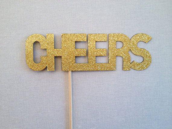 Glitter Cheers Photo Booth Prop  Wedding Photo by CleverMarten, $7.00