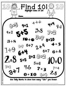 """Freebie! Great exposure for ways to make ten - This can easily be changes to """"Find 100"""" or """"Find 1,000"""" for older students. You can even include all four operations!"""