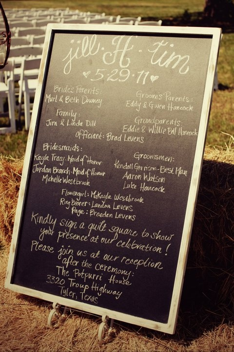 Chalkboard for wedding program. We used this at our wedding and it saved a ton of money.