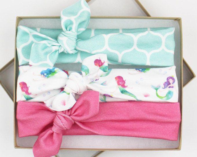 Mermaid Baby Shower Gift / Baby Headband Set / Baby Girl Turban Headband / Newborn Girl Gift / Newborn Photo Prop / Newborn Headbands