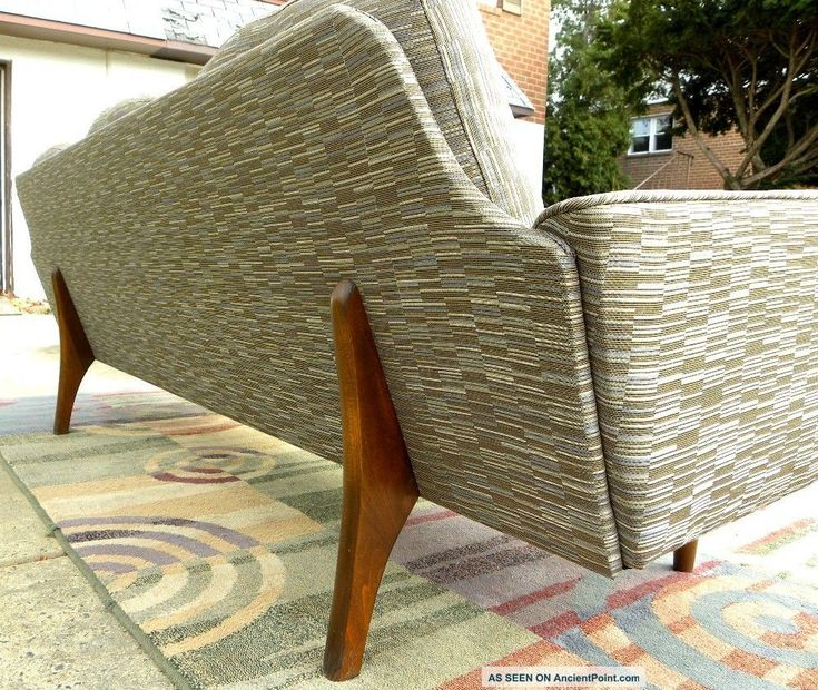 Mid Century Upholstery Fabric Sofa Walnut Wood
