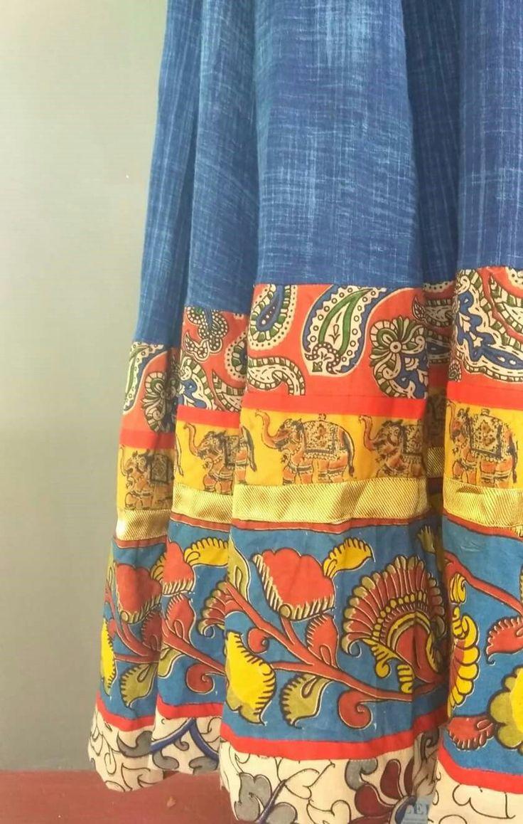 #Kalamkari#Denim#Skirt