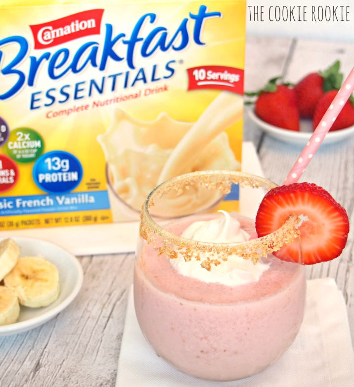 Skinny Strawberry Cheesecake Smoothie made with Carnation Instant Breakfast! YUM! - The Cookie Rookie