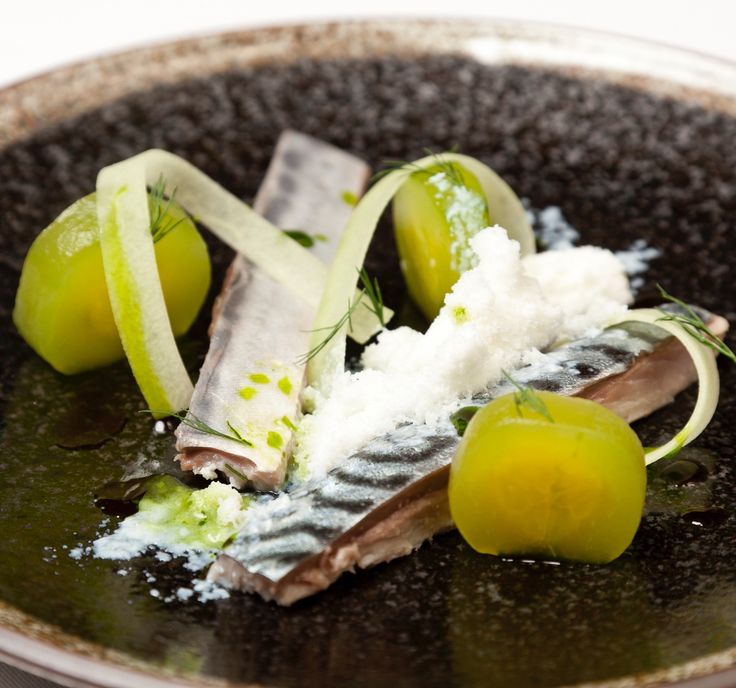 This pickled mackerel recipe from Christoffer Hruskova may look very contemporary but in fact it features classic flavour combinations. The pickling technique used for the mackerel is very traditional to Scandanavian cuisine