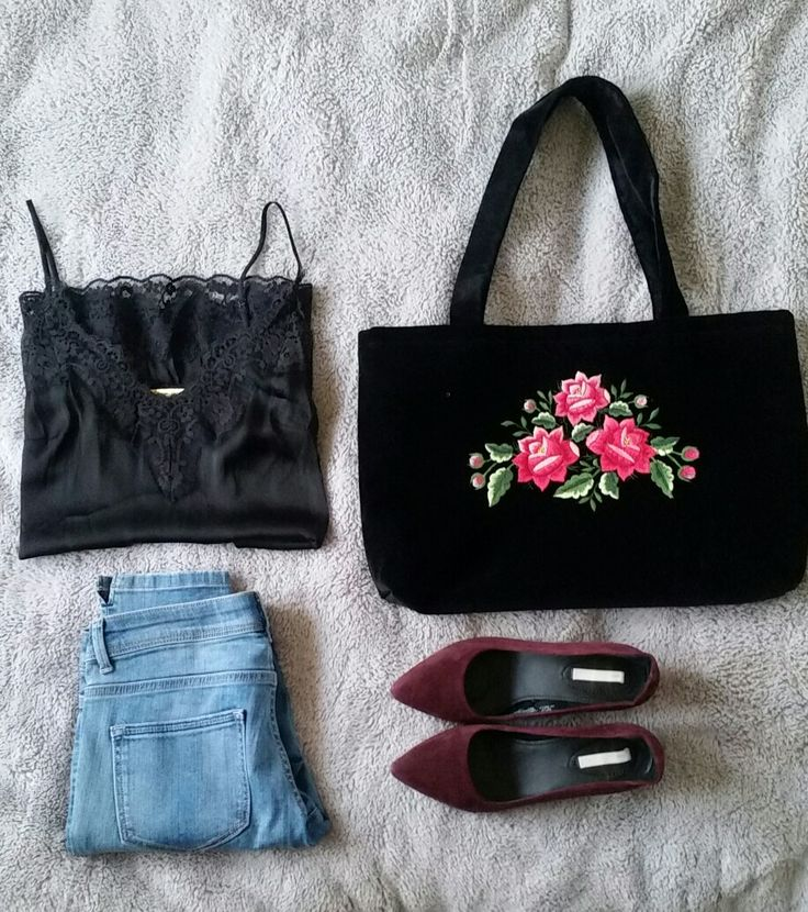 Spring casual outfit  with embroidered bag
