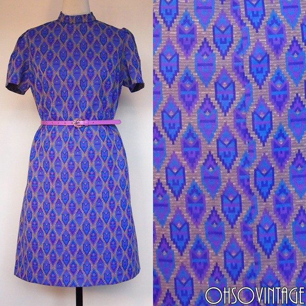Vintage 1960s Shift Dress Knee Length Purple Aztec Print A-line Mod Retro 16/18