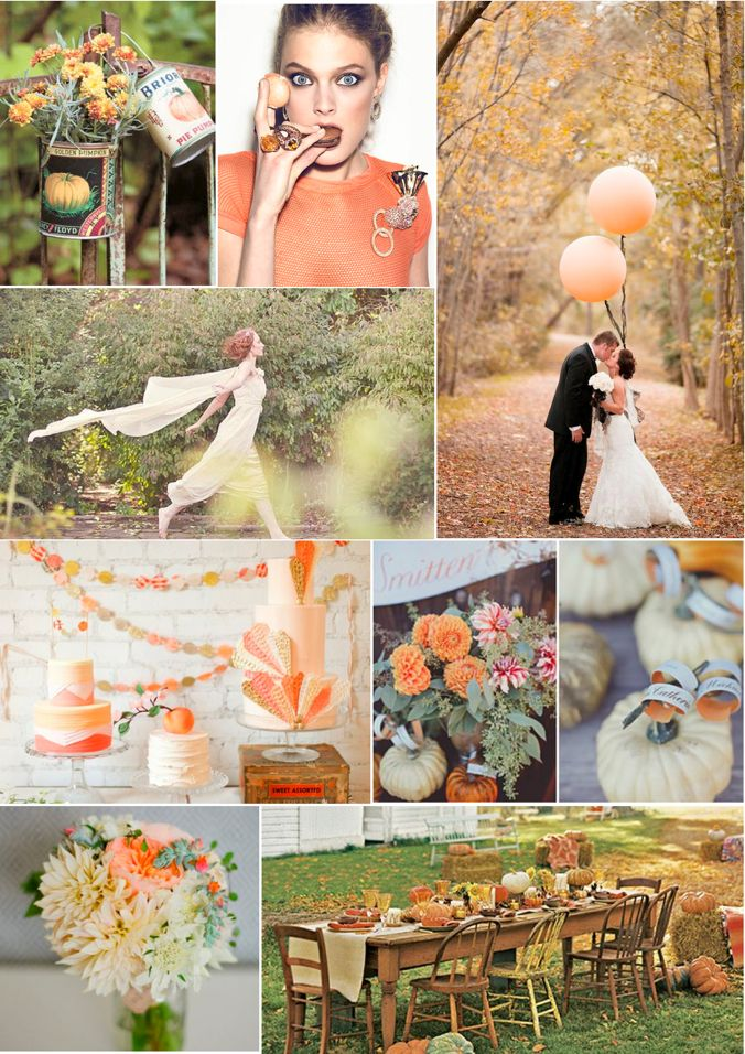 Pale orange, peachy orange and rustic green. Great colors for a fall wedding!
