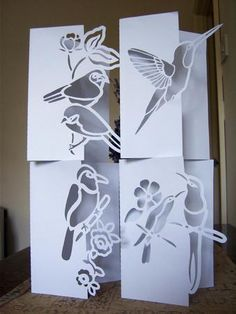 OVER THE EDGE BIRD NOTELET SET on Craftsuprint designed by Clive Couter - gsd files
