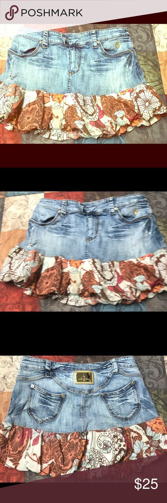 Babyphat classic stretch jean  mini skirt, size 11 BabyPhat stretch jean mini skirt, size 11 Baby Phat Skirts Mini