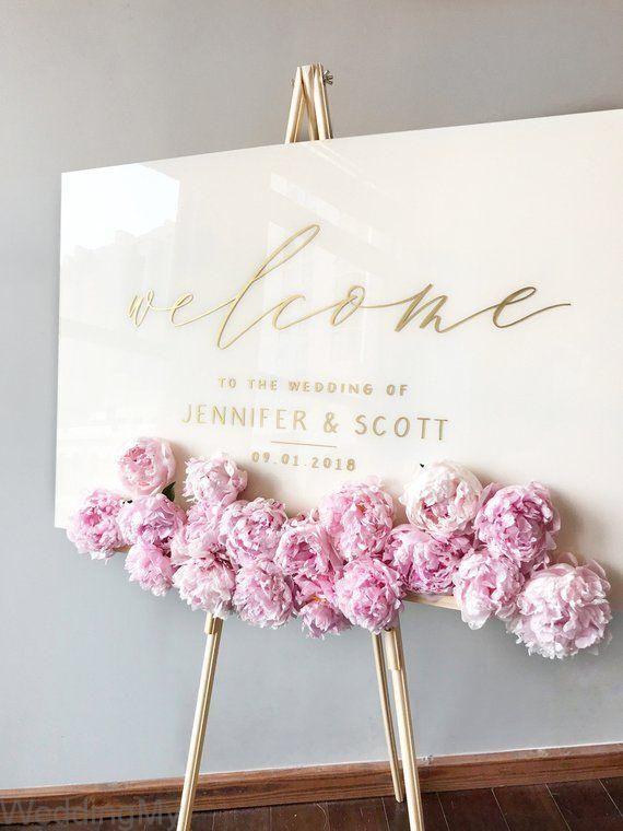 Acrylic Wedding Sign White Plexiglass Wedding Welcome Sign