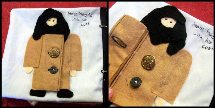 Harry Potter quiet book - button Hagrid's coat