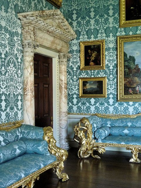 Drawing Room, Kedleston Hall. Keddleston House, Drawing Room. Blue silk and wool 21 inch wide damask for the Drawing Room wall covering and sofas. www.humphriesweaving.co.uk