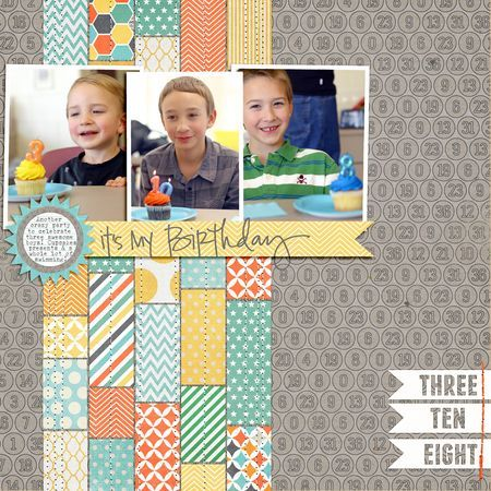 #papercraft #scrapbook #layout. Great way to use strips from a 6x6 pad, or scraps from one layout to create another (since they already coordinate!)
