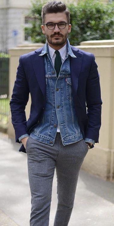 c0a180f83351 @justusf_hasnesn - with a business casual combo with a navy blazer jean  jacket white button