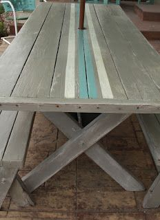 Willow Creek: Grain Sack Picnic Table I want to do this but paint the benches the same shade of the blue stripe.